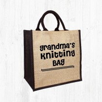 Grandma's Knitting Jute Bag