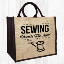 Sewing Mends Jute Bag