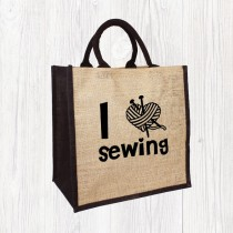 I Heart Sewing Jute Bag