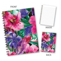 Large Pink Floral Wiro Noteboo