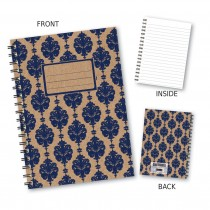 Navy Patterned Wiro Notebook
