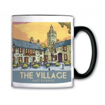Vintage Sketch Town Black Handled Mug