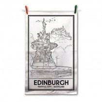 B/W Vintage Sketch Town Tea Towel