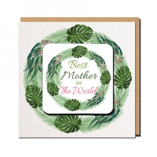 Best Relation Coaster Greeting Card (Green) product image