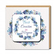 Best Relation Coaster Greeting Card Blue