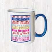 Kiss Me Quick Blue Handle Mug