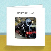 Steam Train Coaster Card