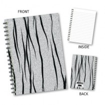 White Tiger Print Notebook