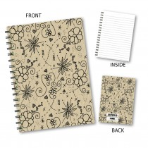 Floral Outline Wiro Notebook