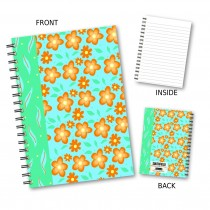 Orange & Blue Flower Notebook