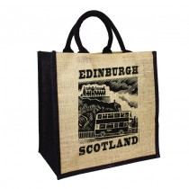 Jute Black Handled Bag