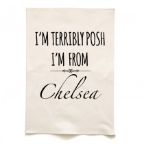 Terribly Posh Printed Tea Towel+Tag
