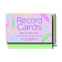 Ruled Coloured Record Cards 5x3