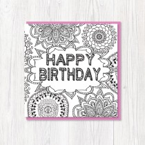 Colour-In Birthday Card 1
