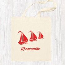 Red Sail Boats Cotton Shopper
