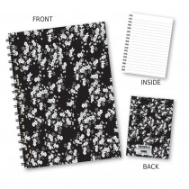 Black/White Floral Wiro Book