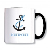 Anchor Black Handled Mug