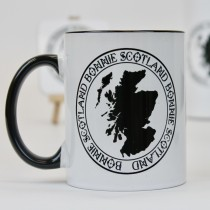 Bonnie Map Black Handled Mug