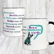Braw E Words Black Handle Mug