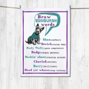 Braw E Words Tea Towel+Tag