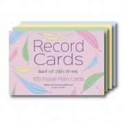 Plain Coloured Record Cards 6x4